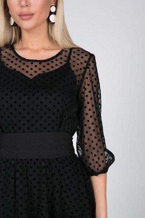Платье Урсула №1.Цвет:черный/горох