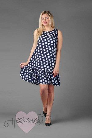 Платье П 547/1 (горох на темно-синем)