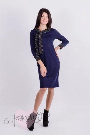 Платье П 162 (темно-синий+горох)