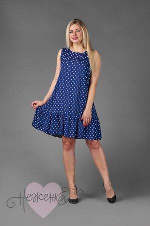 Платье П 547/1 (горошек на синем)