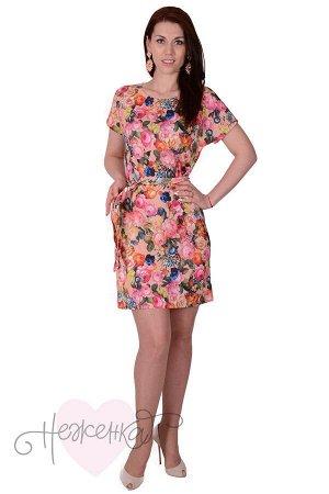 Платье П 554 (персиковый с принтом)