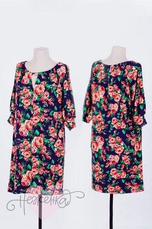 Платье П 654 (принт розы)