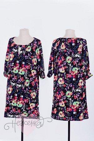 Платье П 654 (принт цветы)