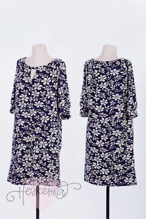 Платье П 654 (темно-синий с принтом)