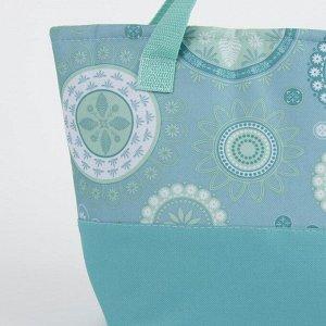 Сумка-термо, отдел на молнии, наружный карман, цвет голубой