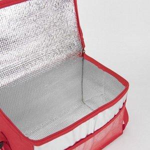 Сумка-термо, отдел на молнии, наружный карман, регулируемый ремень, цвет красный