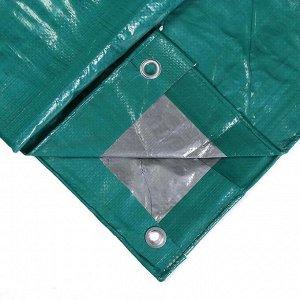Тент защитный, 4 ? 3 м, плотность 120 г/м?, люверсы шаг 1 м, тарпаулин, УФ, зелёный/серебристый