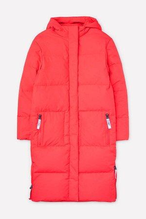 Пальто Цвет: красный; Утеплитель: пух/перо; Вид изделия: Изделия из мембраны; Рисунок: красный; Сезон: Осень-Зима Зимнее стёганое пальто для девочки на подкладке из полиэстера с утеплителем пух (70%)
