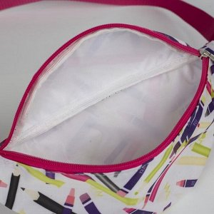 Сумка поясная, отдел на молнии, регулируемый ремень, цвет белый/розовый