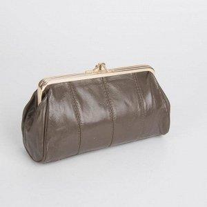 Косметичка-фермуар, 2 отдела на рамке, наружный карман, цвет бронза