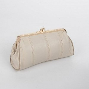 Косметичка-фермуар, 2 отдела на рамке, наружный карман, цвет бежевый