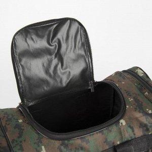 Сумка дорожная, 3 отдела на молниях, наружный карман, длинный ремень, цвет камуфляж