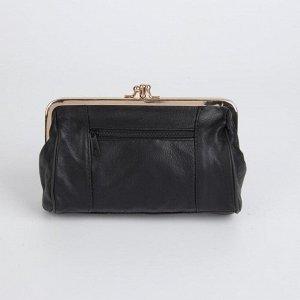 Клатч-косметичка, 2 отдела на фермуаре, наружный карман, цвет чёрный