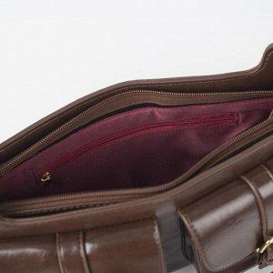 Сумка женская, отдел на молнии, 2 наружных кармана, 2 ремня, цвет коричневый