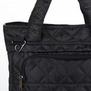 Сумка дорожная, отдел на молнии, с увеличением, наружный карман, длинный ремень, цвет чёрный