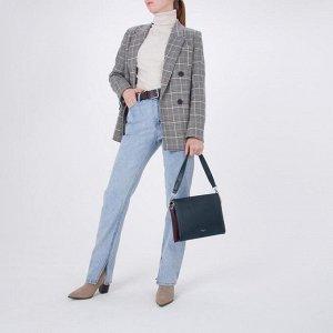 Сумка женская, 3 отдела на молнии, наружный карман, 2 ремня, цвет синий/бордовый