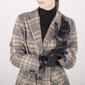 Перчатки женские, размер 6,5, с подкладом шерсть, цвет чёрный