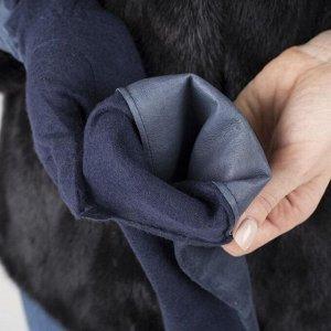Перчатки женские, размер 6-7, без утеплителя, длинные, цвет синий