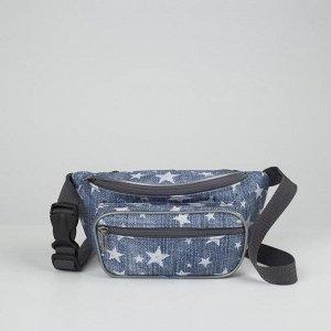 Сумка поясная, отдел на молнии, 2 наружных кармана, цвет голубой