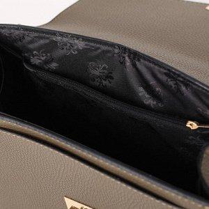Сумка женская, отдел на клапане, наружный карман, длинный ремень, цвет хаки