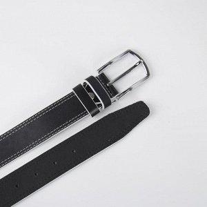 Ремень женский, ширина 3,5 см, со строчкой, винт, пряжка металл, цвет чёрный