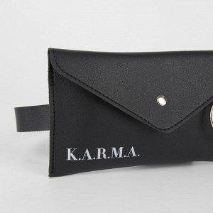 Сумка поясная с металлическим кольцом, 19х11см, K.A.R.M.A , цвет чёрный