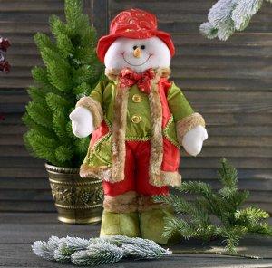 Снеговик Скидка 20%! Старая цена 589 руб. 21178-В Снеговик 50*36*39 Цена за одну игрушку. Снеговик в рождественских тонах :) Высота более 50см. В рукавах - проволочки, которые дают возможность придать