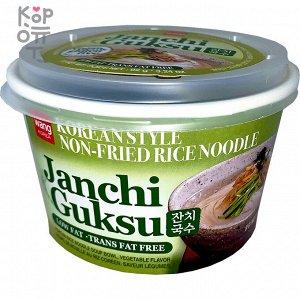 """Корейский суп с рисовой лапшой овощной вкус (веганский) Без глютена """"KOREAN RICE NOODLE soup vegetable flavor JANCHI GUKSU Vegan&Gluten Free"""" 92г"""