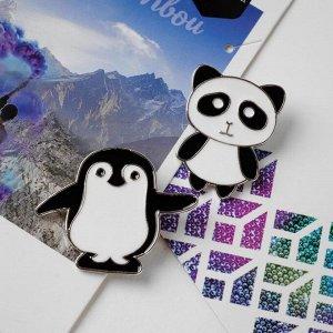 """Набор значков (2шт) """"Панда и пингвин"""", цвет чёрно-белый в золоте"""