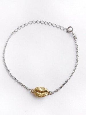 Серебряный браслет на цепочке с позолоченным кофейным зерном,