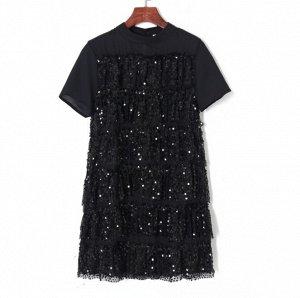 многослойное сетчатое платье с пайетками