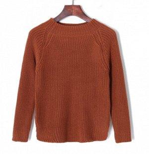 однотонный свободный пуловер с круглым вырезом