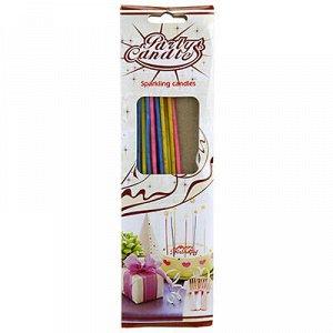 Свечи для торта 16см, набор 18 штук, д2,5мм, тонкие, цветные
