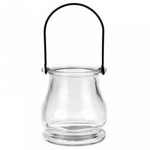Подсвечник стеклянный д8см h9,5см, прозрачный, металлическая