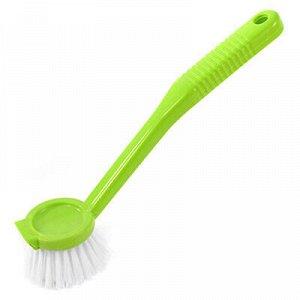 """Щетка для посуды """"Круг"""" 22см, со скребком, с длинной пластма"""