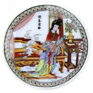 """Магнит фарфоровый """"Тарелка с китайскими мотивами"""" д5,5см h1с"""