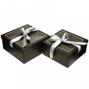 Коробка подарочная, с окном, с лентой, набор 2 штуки: 23х23х