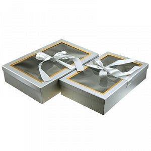 Коробка подарочная, с окном, с лентой, набор 2 штуки: 27х42х
