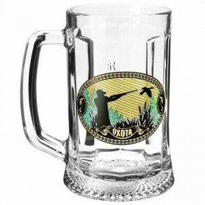 """Кружка для пива стеклянная """"Ладья"""" 500мл, деколь """"На охоте"""""""