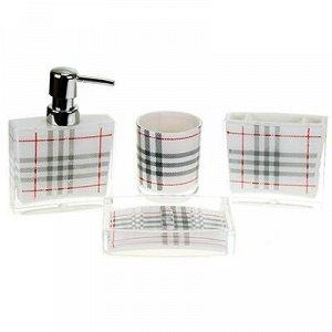 """Набор для ванной """"Клетка"""" 4 предмета: дозатор для мыла 180мл"""
