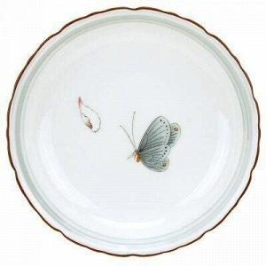 """Бабочки"" Тарелка десертная фарфоровая д185мм h35мм, с декол"