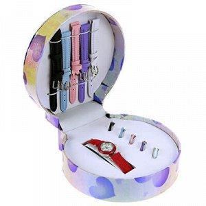 Набор подарочный для девочек: часы наручные кварцевые 20х2,3