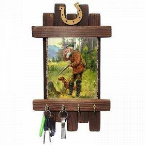 "Ключница деревянная ""Дедушка с собакой"" 20х36см, лен 100%, р"