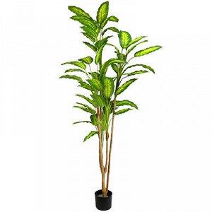 Декоративное дерево 60 листьев 200см, в пластмассовом горшке