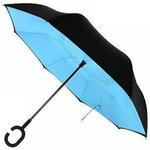 """Зонт-трость механический, обратного сложения """"Моно-голубой"""""""