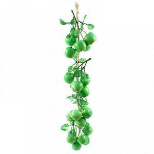 Декоративное яблоко зеленое 20 штук (3,3х3см), на косичке 48