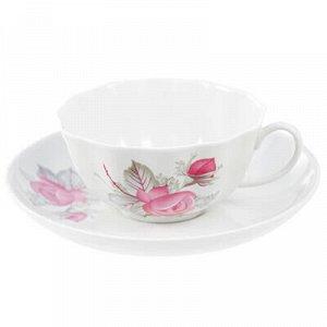 """Чашка чайная фарфоровая """"Дикая роза"""" 220мл, д9,5см, h5см, фо"""