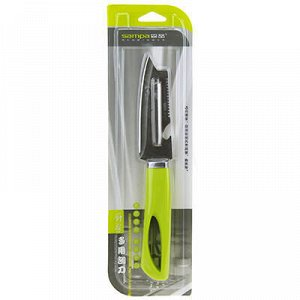 """Нож-шинковка 90мм пластмассовая ручка """"Грин"""" 20,5х3см, с отк"""