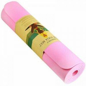 "Коврик для йоги 61х183см 8мм ПВХ ""Тиснение"" розовый (Китай)"