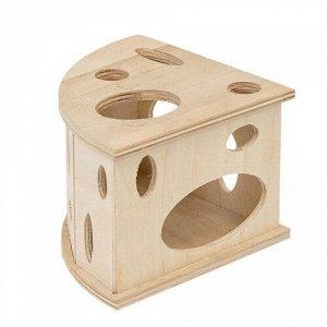 Eco Домик д/грызунов Сыр большой деревянный 13*13*9см (1/1)